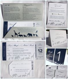 SO cool!! Great idea and love it too bad my wedding is not at a zoo! Metallic Silver, Navy Blue & Gray Zoo Ticket Wedding Invitations, Table Numbers, Escort Cards & Thank You Cards