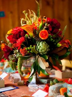 calla lily, centerpieces, gold, green, magenta, orange, ranun, red, rose, rustic, scabiosa pods, yellow, Washington County, Utah