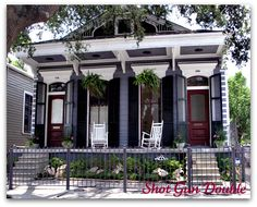 The Double Shotgun Home, A New Orleans Origional! The Shotgun Style of home originated in New Orleans beginning in the and extending to New Orleans Architecture, Southern Architecture, Creole Cottage, New Orleans Homes, Exterior Paint, Exterior Homes, Patio, Historic Homes, Victorian Homes