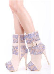 Adorable Natural Flocking Closed Toe Rhinestone Stiletto Heel Ankle Boots