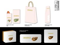 Concept design of a bakery for the brand ORO BIANCO, located in Italy. Packaging.