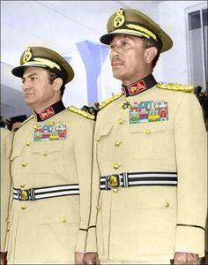 Former presidents of Egypt. President Anwar Al-Sadat and President Hosni Mubarak.