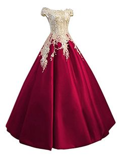 Amazon.com: Meilishuo Women's Off the Shoulder Applqiue Quinceanera Ball Gowns Princess Lace Prom Dress for Evening Parties: Clothing