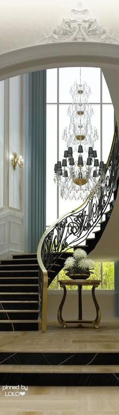 A breath-taking vertical window creates a focal point to this sweeping Staircase. A breath-taking vertical window creates a focal point to this sweeping Staircase. Interior Design Dubai, Home Interior, Interior And Exterior, Interior Decorating, Foyer Staircase, Staircase Design, Entryway Stairs, Staircase Ideas, Design Entrée