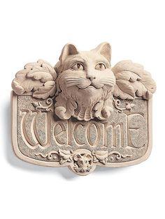 Indoor/Outdoor Cast Stone Wall Plaque: Carruth Studio: Medieval Cat Welcome