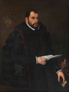 Portrait of a Nobleman holding a letter, by Anthonis Mor, Antonio Moro.