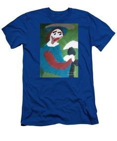 Patrick Francis Royal Blue Designer Slim Fit T-Shirt featuring the painting Man With A Feathered Hat 2014 by Patrick Francis