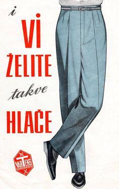 Oglas konfekcije Varteks, 1960-e. Vintage Advertising Posters, Vintage Travel Posters, Vintage Advertisements, Gentleman Style, Vintage Art, Pop Culture, Print Patterns, Blues, Menswear