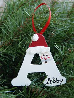Personalized Santa letter ornaments – The Best DIY Outdoor Christmas Decor Letter Ornaments, Christmas Ornament Crafts, Personalized Christmas Ornaments, Xmas Crafts, Handmade Christmas, Preschool Christmas Crafts, Kids Holiday Crafts, Christmas Trees, Christmas Crafts For Adults