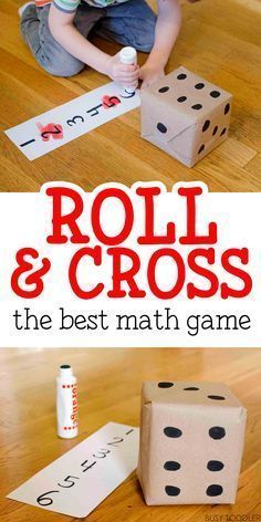Roll and Cross Math Game: The best math game - my kids love this easy math activity! The best math game around! Check out this roll & cross math game that toddlers and preschoolers will love. Works on counting skills and number recognition. Easy Math Games, Math Games For Kids, Math Games For Preschoolers, Number Games For Toddlers, Kids Math, Learning Numbers Preschool, Counting Games, Pre School Games, Preschool Teachers
