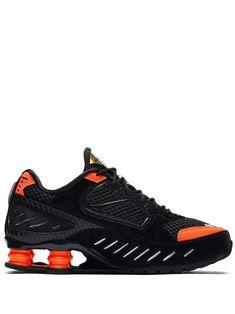 Nike black and orange Shox Enigma sneakers Mens Nike Shox, Nike Shox For Women, Nike Shox Shoes, All Nike Shoes, Nike T, Tenis Nike Air, Nike Air Max, Nike Internationalist, Black