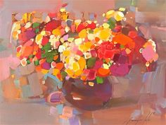 """Daily Paintworks - """"Flowers, Original oil Painting, One of a kind"""" - Original Fine Art for Sale - © V Y"""