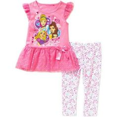 Disney Princesses Toddler Girls' Tunic and Leggings Outfit Set, Toddler Girl's, Size: 3 Years, Pink