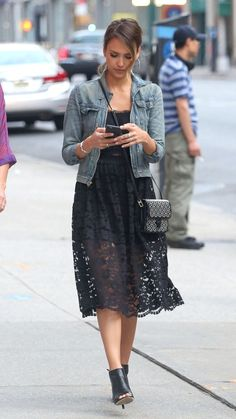 Jessica Alba sheer black lace dress and denim jacket