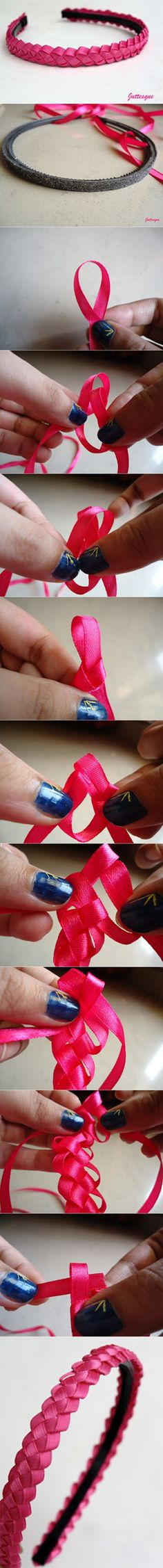 Discover thousands of images about Woven Headband Tutorial Headband Tutorial, Bow Tutorial, Diy Headband, Flower Tutorial, Ribbon Art, Diy Ribbon, Ribbon Bows, Ribbons, Flower Hair Bows