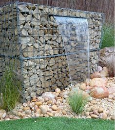 gabion wall design ideas garden water feature waterfall garden decorating ideas Have you ever wondered how you can incorporate a gabion into your interior We have a colle. Modern Landscaping, Garden Landscaping, Gabion Wall Design, Gabion Retaining Wall, Gabion Stone, Landscape Design, Garden Design, Gabion Baskets, Pot Jardin