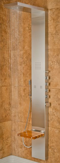 PULSE Showerspas Oahu Shower System with Folding Teak Seat and Matte Stainless Steel Panel with Polished Chrome Fixtures 1035 - The Home Depot