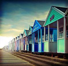 coloured beach huts #colouredhouses