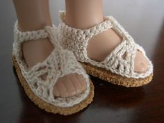 Crochet  doll sandals fit 14 inch dolls like Betsy McCall These were made using #10 thread and glued to cork soles ( made by Barb Marlee )