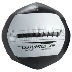 """Dynamax Medicine Ball (Black/Grey, 20-Pound) by SPRI. $79.98. The pliable 14"""" Dynamax Medicine Ball is easy to catch and throw. This non-bounce medicine ball is a safe and versatile functional resistance training tool. Soft shell, heavy duty vinyl coated nylon construction holds its shape over time. Sweat and scuff resistant. Available in 4, 6, 8, 10, 12, 14, 16, 18 and 20 lbs."""