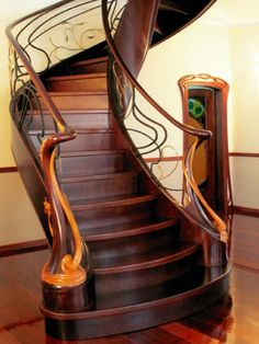 Stairs Inessa: A Modernist Style. Materials Are Birch, Oak, Forged Brass, Gilding, Blackening, Malleating, Gold Sewing.