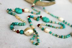 Turquoise Jasper Pearl Long Ruby Jade Layering Necklace by LuMagoo,