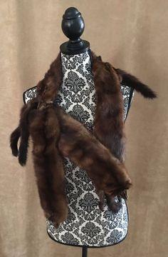 Mink Stole 4 Full pelt Body fur women shawl brown wrap coat vintage head feet #Unbranded #wrap