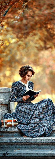 reading on an autumn day