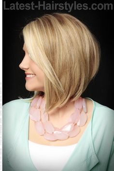 long bob is shorter in the back, longer in the front, and stacked low