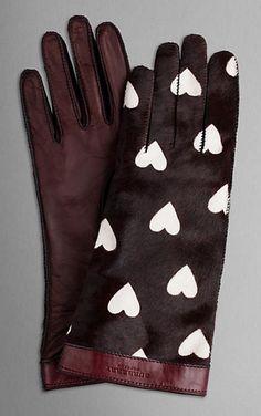 Gants Burberry en cuir imprimé de cœurs :  so chic ... !
