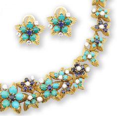 A turquoise, sapphire and diamond parure, by Boucheron, circa 1960