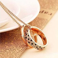 Sale 30% (3.99$) - Crystal Rhinestone Double Rings Pendant Sweater Long Necklace