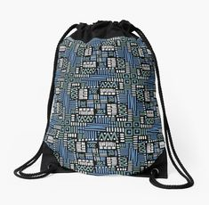 'Dark Hand drawn geometric design' Drawstring Bag by Vanessa Bentley Backpack Bags, Tote Bags, Drawstring Backpack, Woven Fabric, Hand Drawn, How To Draw Hands, Blues, Phone Cases, Tote Bag