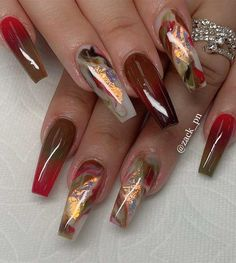 49 nail art designs that perfect for fall and winter, coffin nail art designs,almond nail art design, acrylic nail art, nail designs with glitter fall nail art designs Best Acrylic Nails, Acrylic Nail Art, Acrylic Nail Designs, Glitter Nail Designs, Fall Nail Art Designs, Pretty Nail Designs, Creative Nail Designs, Nail Swag, Fabulous Nails