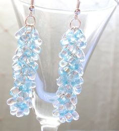 Chandelier Earrings, Chainmaille Earrings, Shaggy Loops Earrings, Blue Beaded Earrings, 2 Inch Earrings, Ice Blue, Dangle Earrings