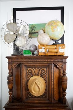 Right side small desk & chair with vintage fan, light and world peace