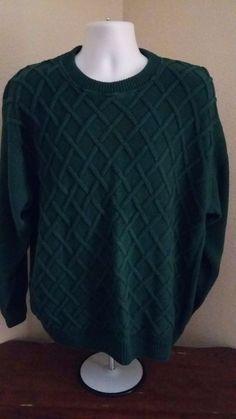 ALEXANDER JULIAN COLOURS Mens 100% Cotton Long Sleeve Green Sweater Size XL #AlexanderJulian #Crewneck