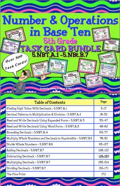$Save time and money with this GIANT Common Core Grade 5 Number & Operations in Base Ten Task Card Sets Bundle.  Help your students master important math concepts with this 172 page collection. Over 300 task cards and 11 game boards.  Save time and money!