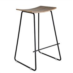 Porter Commercial Grade Black Frame Stool - Walnut Seat