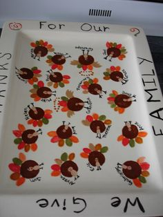 Thanksgiving family turkey thumbprint plate! The grand-turkeys are angels!