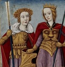 Boccaccio's Famous Women, 15th Century.  Orithyia and Antiope. Although I'd love to know how Antiope intends to sit down without stabbing herself somewhere entirely unpleasant.