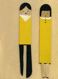 DIY inspiration - peg people would be cute painted like this Diy For Kids, Crafts For Kids, Arts And Crafts, Diy Crafts, Diy Projects To Try, Art Projects, Pop Stick, Stick Art, Popsicle Sticks