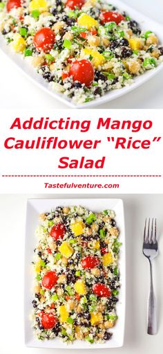 """This Mango Cauliflower """"Rice"""" Salad is so addicting! This is a such a healthy meal that is low in calories!   http://Tastefulventure.com"""