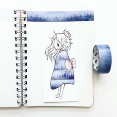 I want to try out that washi tape it looks so pretty, like a forest while autumn mists in the early morning! Kawaii Drawings, Cute Drawings, Washi Tape, Illustrations, Illustration Art, Drawn Art, Tape Art, Dibujos Cute, Beautiful Drawings