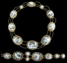 An antique gold mounted shell cameo demi parure, early 19th century. Comprising a necklace carved to depict classical and mythological scenes, and a bracelet with belcher-link connections.