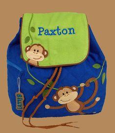 Personalized Stephen Joseph MONKEY Backpack-- KOOPER aka monkey :)
