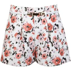Miss Selfridge Floral Jacquard Short (34 CAD) ❤ liked on Polyvore featuring shorts, bottoms, short, assorted, jacquard shorts, miss selfridge, floral shorts, floral printed shorts and flower print shorts