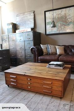 love the leather couch and the map