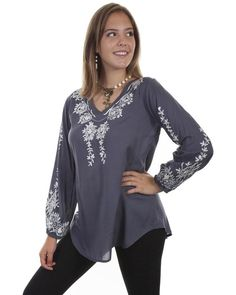 fa1ff99d00c Honey Creek by Scully Women s Wedgewood Floral Embroidered Blouse - HC380   fashion  clothing