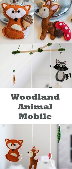 Woodland Animals / Woodland Creatures / Baby Nursery Mobile / Made to Order Fox, Deer, Raccon #affiliate #babyboy